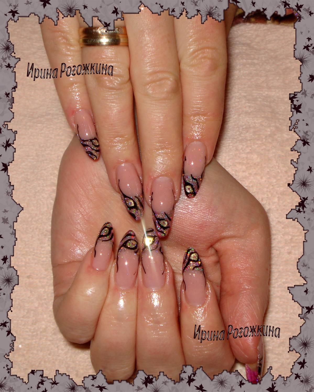 Наращивание ногтей с слюдой фото
